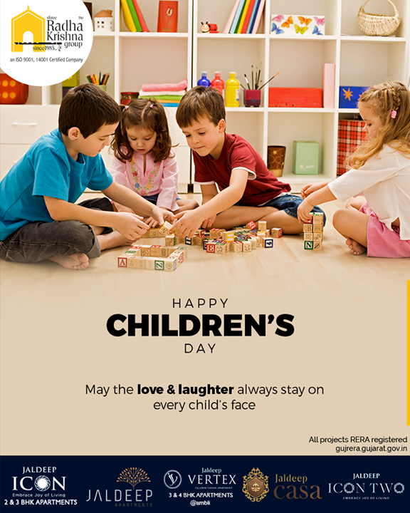 May the love & laughter always stay on every child's face.      #HappyChildrensDay #ChildrensDay #ShreeRadhaKrishnaGroup #Ahmedabad #RealEstate #SRKG