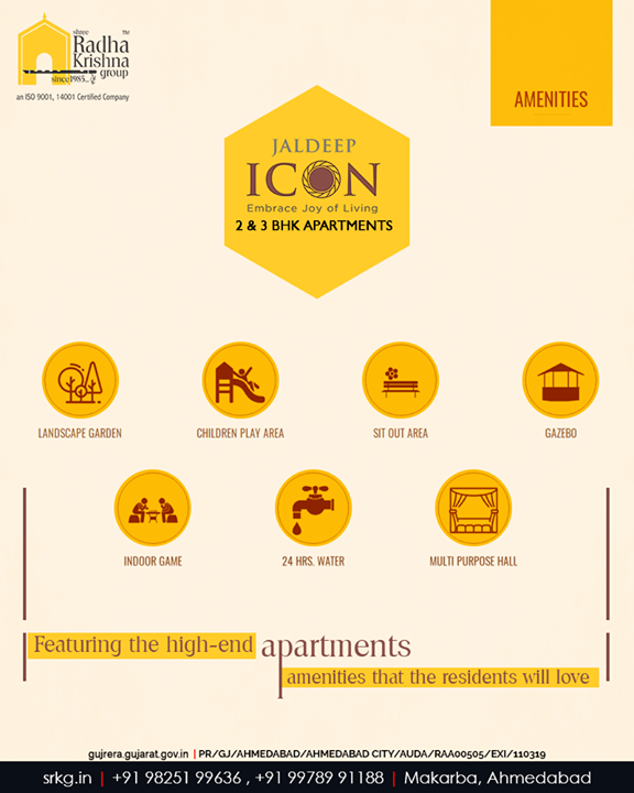 There are certain essential luxury apartment amenities that your ideal home ought to have incorporated in it.  If you are looking for a host of luxurious amenities then your search gets over at #JaldeepIcon.  #Amenities #LuxuryLiving #ShreeRadhaKrishnaGroup #Ahmedabad #RealEstate #SRKG #IconicApartments #IconicLiving