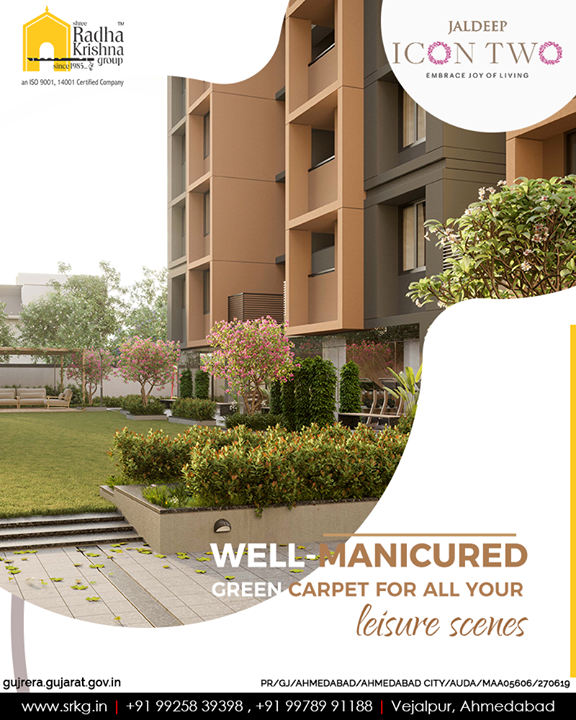 You may walk, recline, chit-chat or jog around; this well-manicured green carpet is designed for all your relaxing scenes!  #Amenities #LuxuryLiving #ShreeRadhaKrishnaGroup #Ahmedabad #RealEstate #SRKG #IconicApartments #IconicLiving