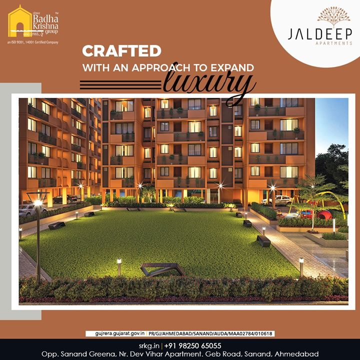Crafted with an approach to expand luxury in an affordable way, the high-life awaits you at #JaldeepAapartment.  #JaldeepApartment #AlluringApartments #AffordableLuxury #ExpanseOfElegance #LuxuryLiving #ShreeRadhaKrishnaGroup #Ahmedabad #RealEstate #SRKG