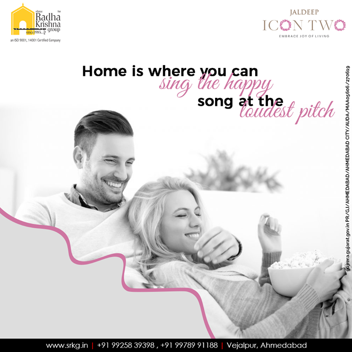 Home is where you can sing the happy song at the loudest pitch. Sing the happy song, do the disco dance and live the lavish life at #JaldeepIcon2.  #Amenities #LuxuryLiving #ShreeRadhaKrishnaGroup #Ahmedabad #RealEstate #SRKG #IconicApartments #IconicLiving