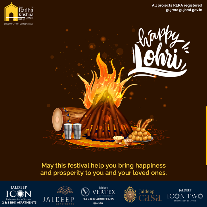 May this festival help you bring happiness and prosperity to you and your loved ones.  #HappyLohri #Lohri #Lohri2020 #LohriCelebration #HarvestFestival #SRKG #ShreeRadhaKrishnaGroup #Ahmedabad #RealEstate