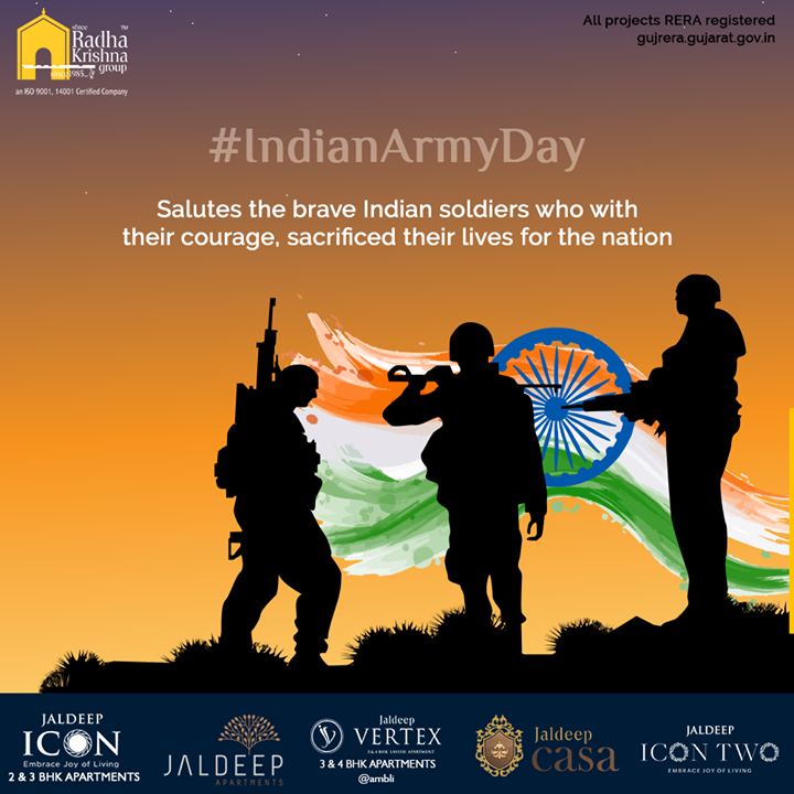 Salutes the brave Indian soldiers who with their courage, sacrificed their lives for the nation  #ArmyDay #IndianArmy #IndianArmyDay #Inspiration #HappyArmyDay #IndianArmyDay2020 #ArmedForcesRemembranceDay #JaiHind #SRKG #ShreeRadhaKrishnaGroup #Ahmedabad #RealEstate