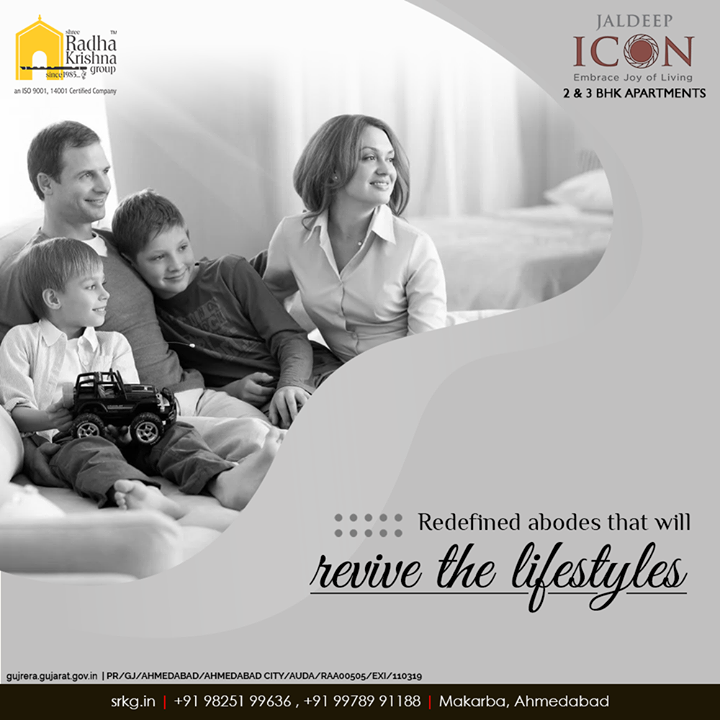 With the right blend of innovation and thoughtful construction; #JaldeepIcon comprises of the redefines abodes that shall revive the lifestyle of its dwellers.  #LuxuryLiving #ShreeRadhaKrishnaGroup #Ahmedabad #RealEstate #SRKG #IconicApartments