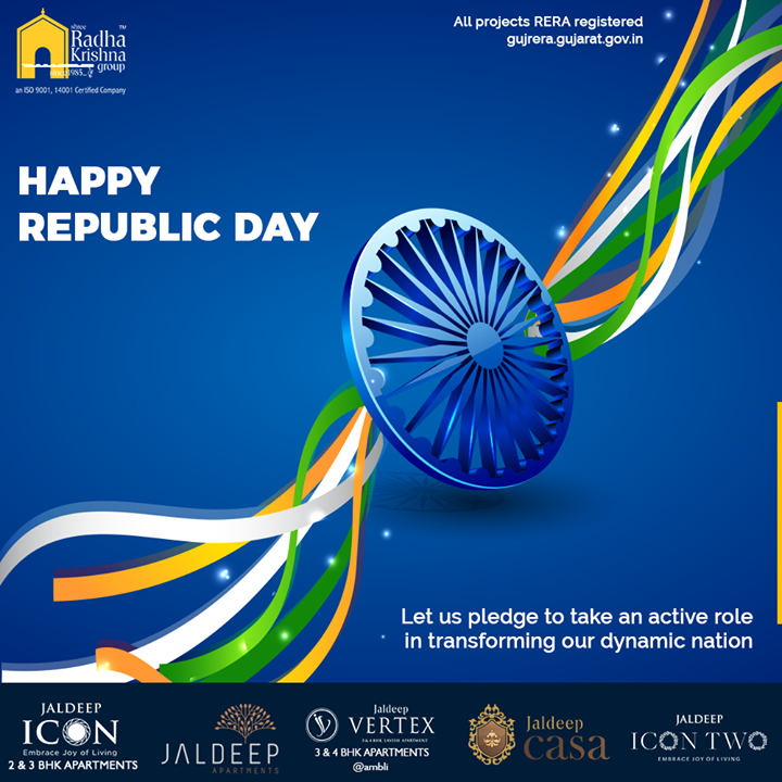 Let us pledge to take an active role in transforming our dynamic nation.  #HappyRepublicDay #RepublicDay #26thJanuary #IndianRepublicDay #ProudToBeIndian #SRKG #ShreeRadhaKrishnaGroup #Ahmedabad #RealEstate