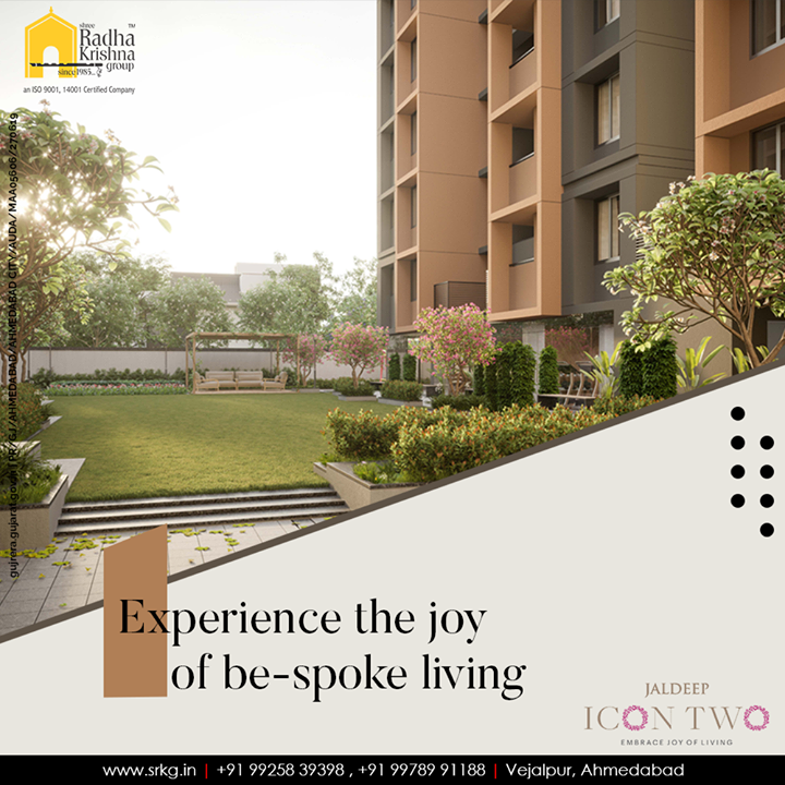 Embrace an unmatched lifestyle amd experience the joy of be-spoke living at #JaldeepIcon2.  #Icon2 #LuxuryLiving #ShreeRadhaKrishnaGroup #Ahmedabad #RealEstate #SRKG