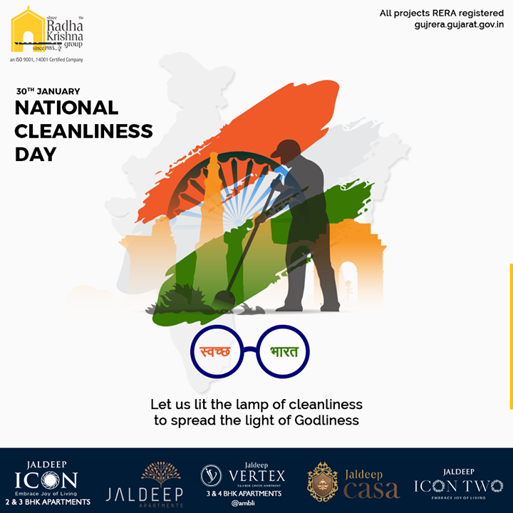 Let us lit the lamp of cleanliness to spread the light of Godliness.  #NationalCleanlinessDay #CleanIndia #SRKG #ShreeRadhaKrishnaGroup #Ahmedabad #RealEstate