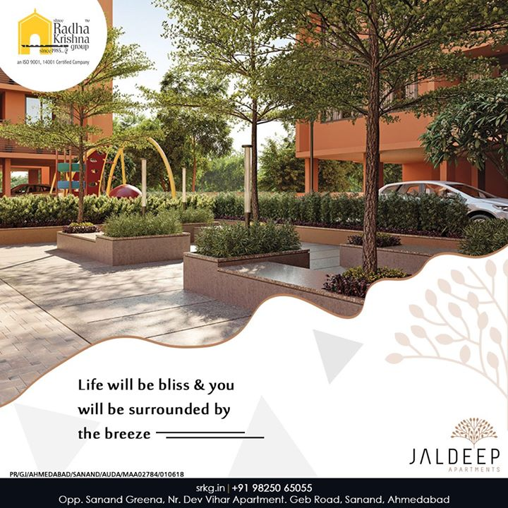Say yes to a holistic lifestyle at #JaldeepApartment, where life will be bliss & you will be surrounded by the breeze.  #AlluringApartments #ExpanseOfElegance #LuxuryLiving #ShreeRadhaKrishnaGroup #Ahmedabad #RealEstate #SRKG