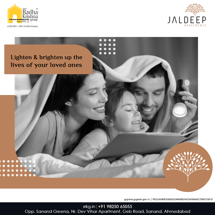 Lighten and brighten up the lives of your loved ones with a lifestyle that incorporates every facet of comfort and convenience.  #JaldeepApartment #AlluringApartments #ExpanseOfElegance #LuxuryLiving #ShreeRadhaKrishnaGroup #Ahmedabad #RealEstate #SRKG