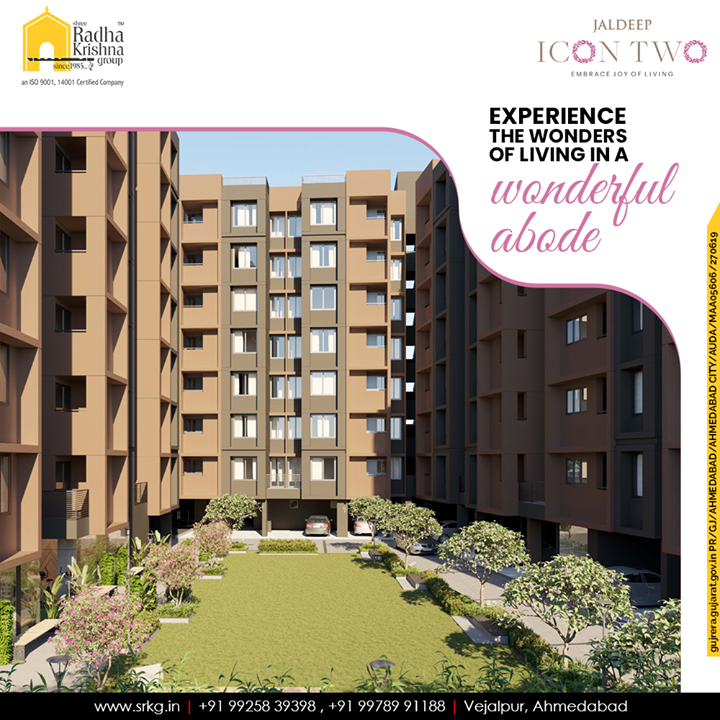 Experience the wonders of living in a wonderful abode and let happiness have a new destination at #JaldeepIcon2.  #Icon2 #Vejalpur #LuxuryLiving #ShreeRadhaKrishnaGroup #Ahmedabad #RealEstate #SRKG