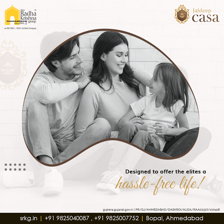Happiness comes in a natural way when you are away from hassles and inconveniences.  Embrace an exclusive and hassle-free lifestyle at #JaldeepCasa.  #WorkOfHappiness #Bopal #Amenities #LuxuryLiving #ShreeRadhaKrishnaGroup #Ahmedabad #RealEstate