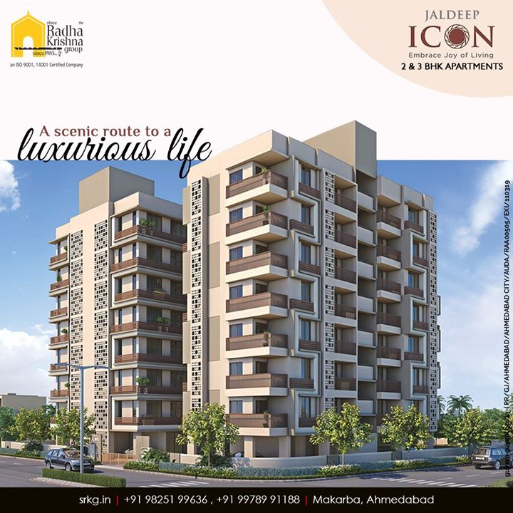 Take a scenic route to a luxurious life and a lavish lifestyle at #JaldeepIcon.  #Icon #LuxuryLiving #ShreeRadhaKrishnaGroup #Ahmedabad #RealEstate #SRKG