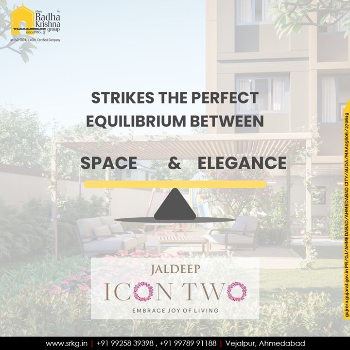 Striking the perfect equilibrium between space and elegance, #JaldeepIcon2 offers the gateway to a luxuriously opulent lifestyle.  #Icon2 #Vejalpur #LuxuryLiving #ShreeRadhaKrishnaGroup #Ahmedabad #RealEstate #SRKG