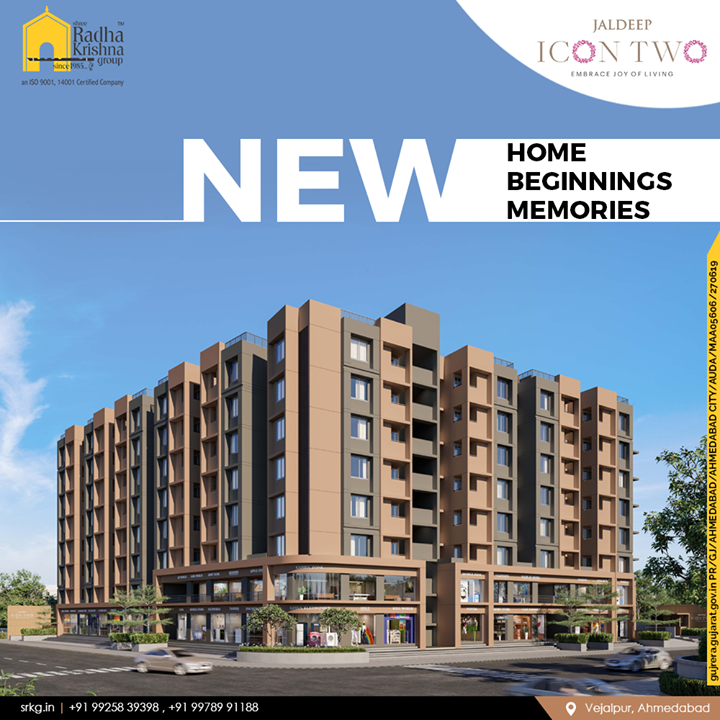 Nothing beats the joy of owning a new home!  Gear up to have an all new beginning at #JaldeepIcon2 where you can entwine moments into memories.  #Icon2 #Vejalpur #LuxuryLiving #ShreeRadhaKrishnaGroup #Ahmedabad #RealEstate #SRKG