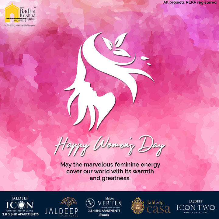 May the marvelous feminine energy cover our world with its warmth and greatness.  #WomensDay #women #WomensDay2020 #RespectWomen #EachforEqual #InternationalWomensDay #InternationalWomensDay2020 #ShreeRadhaKrishnaGroup #Ahmedabad #RealEstate #SRKG