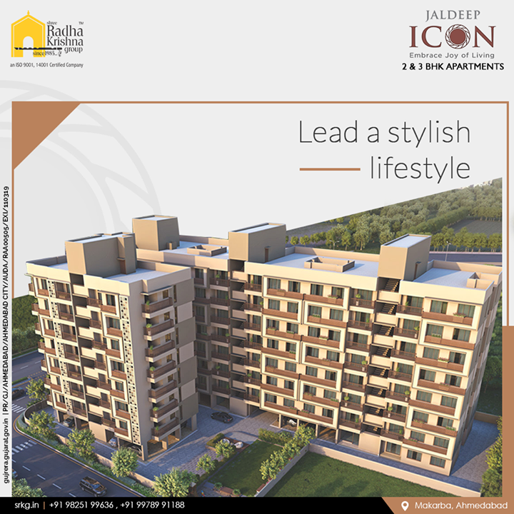 Live in style and lead a stylish lifestyle at the thoughtfully designed and crafted; #JaldeepIcon.  #ShreeRadhaKrishnaGroup #Ahmedabad #RealEstate