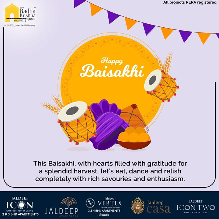 This Baisakhi, with hearts filled with gratitude for a splendid harvest, let's eat, dance and relish completely with rich savouries and enthusiasm.  #HappyBaisakhi #Baishakhi #Baishakhi2020 #SRKG #ShreeRadhaKrishnaGroup #Ahmedabad #RealEstate