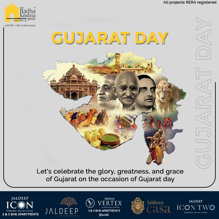 Let's celebrate the glory, greatness, and grace of Gujarat on the occasion of Gujarat day  #HappyGujaratDay #GujaratDay #GujaratFoundationDay #GujaratDay2020 #SRKG #ShreeRadhaKrishnaGroup #Ahmedabad #RealEstate
