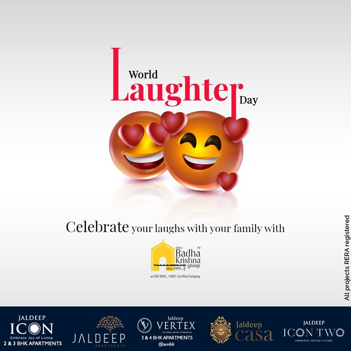 On this #WorldLaughterDay, Celebrate your laughs with your family with Shree Radha Krishna Group.  #WorldLaughterDay #WorldLaughterDay2020 #LaughterDay #SRKG #ShreeRadhaKrishnaGroup #Ahmedabad #RealEstate