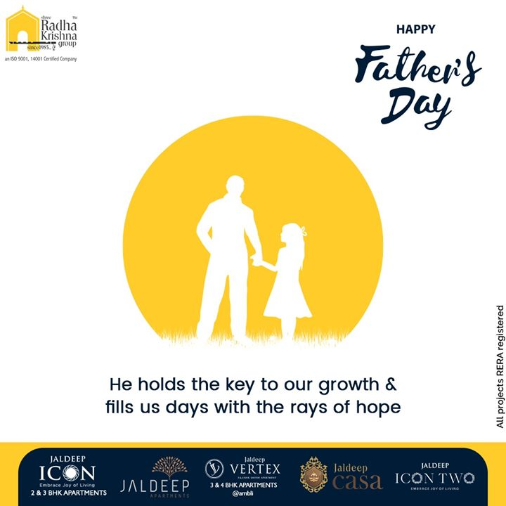 He holds the key to our growth & fills us days with the rays of hope.  #HappyFathersDay #FathersDay #FathersDay2020 #DAD #Father #SRKG #ShreeRadhaKrishnaGroup #Ahmedabad #RealEstate