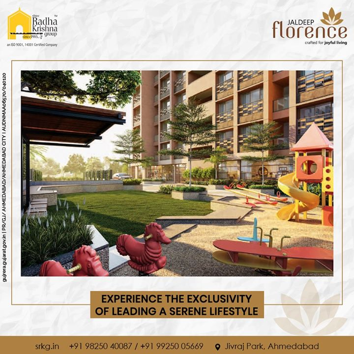 Let your loved ones reside closer to nature and enjoy experiencing the exclusivity of leading a serene lifestyle.  #JaldeepFlorence #Launchingsoon #LuxuryLiving #ShreeRadhaKrishnaGroup #Ahmedabad #RealEstate #SRKG