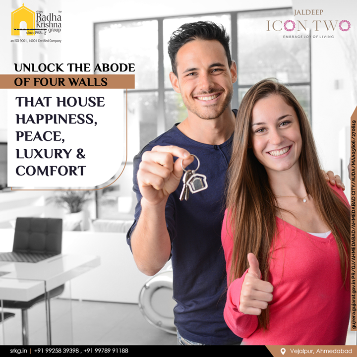 Unlock the abode of four walls that house happiness, peace, luxury & comfort.  Give a spacious & stylish edit to your lifestyle at #JaldeepIcon2.  #Icon2 #Vejalpur #LuxuryLiving #ShreeRadhaKrishnaGroup #Ahmedabad #RealEstate #SRKG
