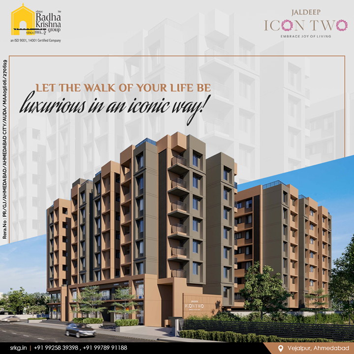 Luxury lies in the intricate detailing. Let the walk of your life be luxurious in an iconic way at #JaldeepIcon2.  #Icon2 #Vejalpur #LuxuryLiving #ShreeRadhaKrishnaGroup #Ahmedabad #RealEstate #SRKG