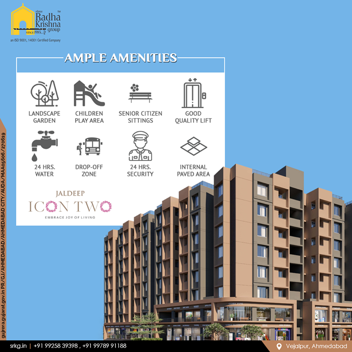 Amenities play an important role in offering quality living. They are important and can never be overlooked. Ample amenities that will make your experience of living notches higher.  #JaldeepIcon2 #Icon2 #Vejalpur #LuxuryLiving #ShreeRadhaKrishnaGroup #Ahmedabad #RealEstate #SRKG
