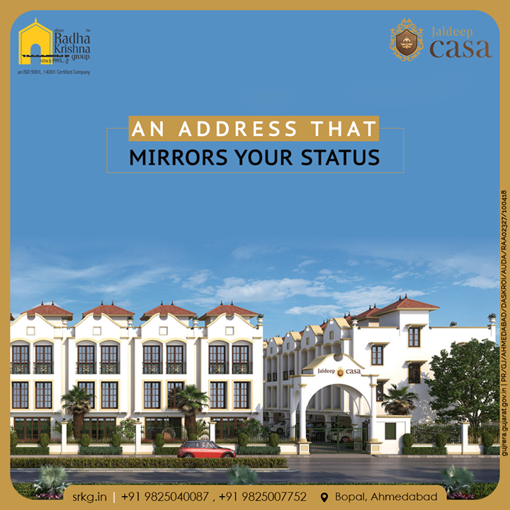 Elevate your lifestyle to an abode where life will seem to be more meaningful. Own your home where the address mirrors your status at #JaldeepCasa.  #WorkOfHappiness #Bopal #Amenities #LuxuryLiving #ShreeRadhaKrishnaGroup #Ahmedabad #RealEstate