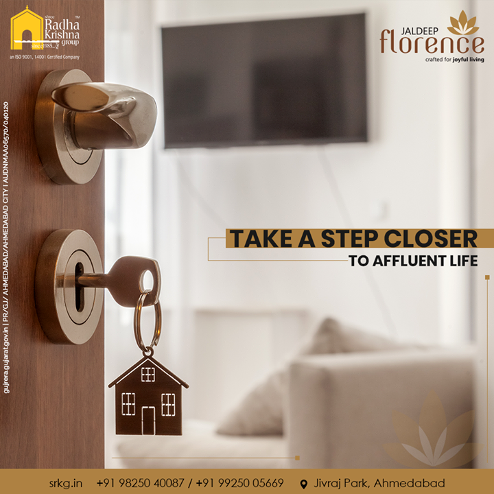 Unlock the abode of four walls that house happiness, peace, luxury & comfort.  Give a spacious & stylish edit to your lifestyle at Jaldeep Florence.   #JaldeepFlorence #LuxuryLiving #ShreeRadhaKrishnaGroup #Ahmedabad #RealEstate #SRKG