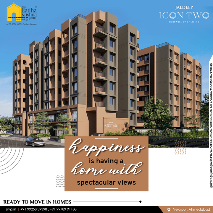 Bask in the glory of gorgeous, contemporary interior décor and seamlessly enjoy the spectacular views from your balcony & window-panes at JaldeepIconTwo.  #JaldeepIconTwo #Icon2 #Vejalpur #LuxuryLiving #ShreeRadhaKrishnaGroup #Ahmedabad #RealEstate #SRKG