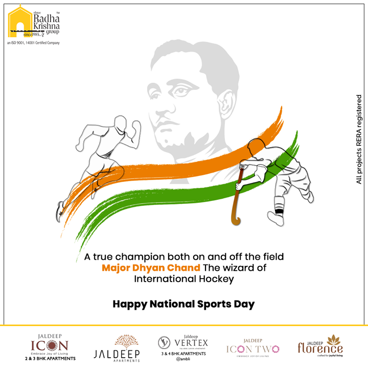 Radha Krishna Group,  NationalSportsDay, SportsDay, NationalSportsDay2020, MajorDhyanChand, BirthAnniversary, ShreeRadhaKrishnaGroup, Ahmedabad, RealEstate, SRKG