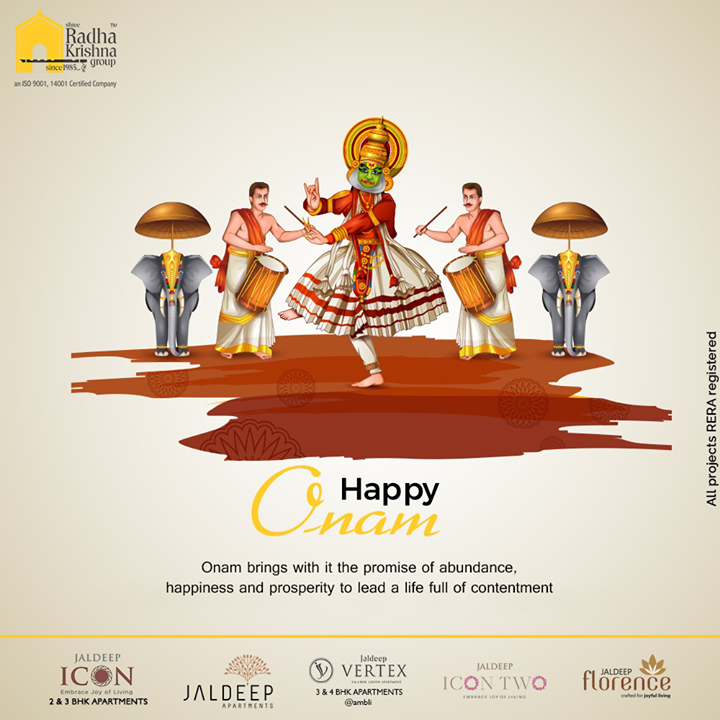 Onam brings with it the promise of abundance, happiness, and prosperity to lead a life full of contentment.  #HappyOnam #Onam #Onam2020 #ShreeRadhaKrishnaGroup #Ahmedabad #RealEstate #SRKG