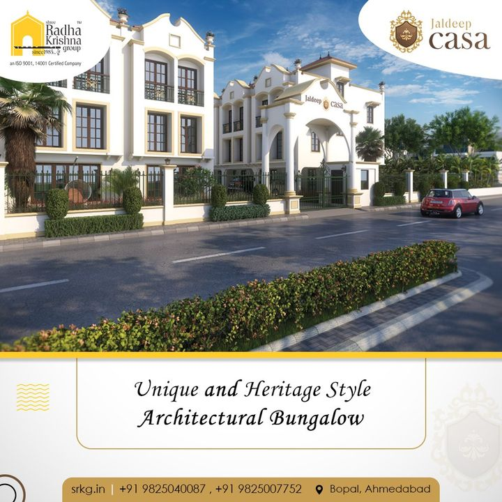 Presently the unique and heritage style architectural - 34 limited edition Bungalows on the fastest developing area Bopal by Shree Radha Krishna Group can be a perfect gift to your family for years to come.  #JaldeepCasa #WorkOfHappiness #Bopal #Amenities #LuxuryLiving #ShreeRadhaKrishnaGroup #Ahmedabad #RealEstate