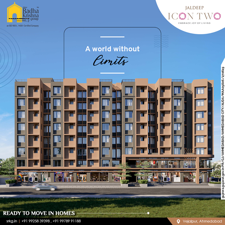 Jaldeep Icon Two is a beautiful world without limits where architectural design, urban luxury, luxurious lifestyle, and nature all come together.  Jaldeep Icon Two has 2 BHK Apartments & Shops @Vejalpur-Makarba.  #JaldeepIconTwo #IconTwo #Vejalpur #Makarba #LuxuryLiving #ShreeRadhaKrishnaGroup #RadhaKrishnaGroup #SRKG #Ahmedabad #RealEstate