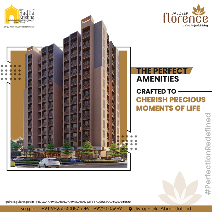 Jaldeep Florence offers just the right amenities for you to cherish the precious moments of your life. This is a perfect project that redefines the boundaries of perfection.   3BHK Luxurious Apartments and Retail Spaces @JivrajPark, Coming Soon!  #JaldeepFlorence #Amenities #Launchingsoon #LuxuryLiving #RadhaKrishnaGroup #ShreeRadhaKrishnaGroup #JivrajPark #Ahmedabad #RealEstate #SRKG