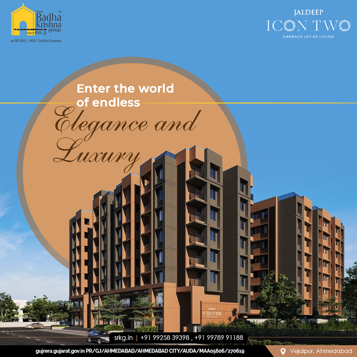 Enter the world of endless elegance and luxury where you and your loved ones can dwell well.  #JaldeepIconTwo #IconTwo #LuxuryLiving #ShreeRadhaKrishnaGroup #RadhaKrishnaGroup #SRKG #Vejalpur #Makarba #Ahmedabad #RealEstate