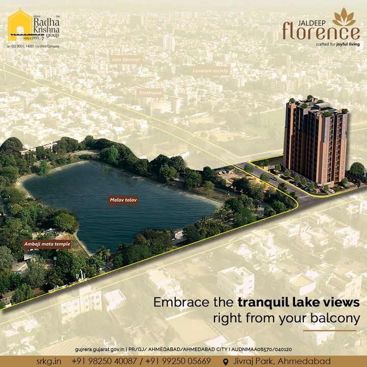 Nothing is better than a liberating view from your abode of happiness. Embrace the tranquil lake views right from your balcony.  #JaldeepFlorence #Amenities #Launchingsoon #LuxuryLiving #RadhaKrishnaGroup #ShreeRadhaKrishnaGroup #JivrajPark #Ahmedabad #RealEstate #SRKG