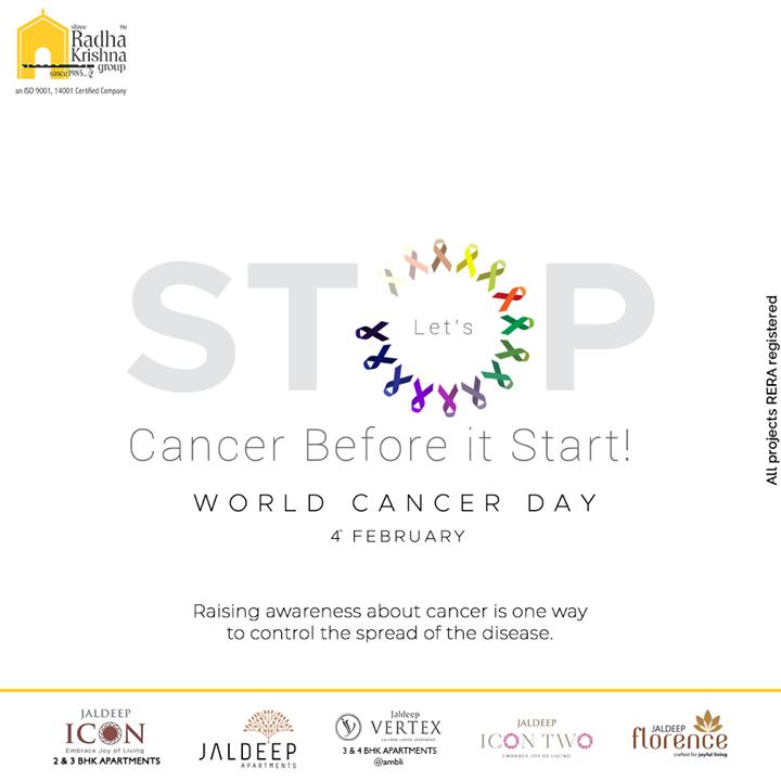 Raising awareness about cancer is one way to control the spread of the disease.  #WorldCancerDay #IAmAndIWill #WorldCancerDay2021 #ActAgainstCancer #ShreeRadhaKrishnaGroup #Ahmedabad #RealEstate #SRKG
