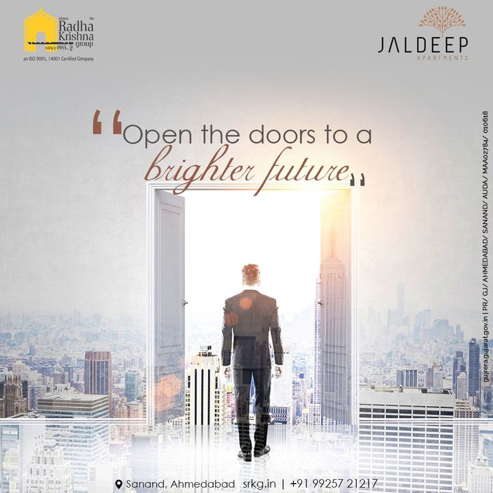Open the doors to a brighter future and enter the entire new world of serenity.   A world where you can be a free soul with a class.   #JaldeepApartments #LuxuryLiving #ShreeRadhaKrishnaGroup #Ahmedabad #RealEstate #SRKG