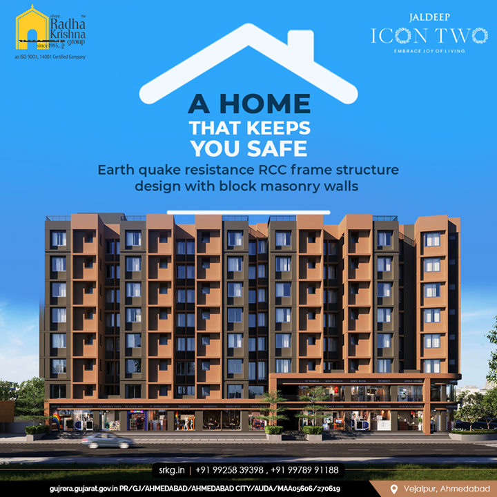 We build homes that keep you and your family safe.  Earth quake resistance RCC frame structure design with brick masonry walls.   #JaldeepIconTwo #IconTwo #LuxuryLiving #ShreeRadhaKrishnaGroup #RadhaKrishnaGroup #SRKG #Vejalpur #Makarba #Ahmedabad #RealEstate