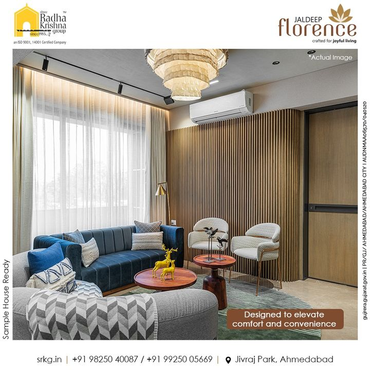 Homes at Jaldeep Florence are exclusively designed to elevate comfort and elegance for an elegant and opulent living for you and your loved ones.  #JaldeepFlorence #Amenities #Launchingsoon #LuxuryLiving #RadhaKrishnaGroup #ShreeRadhaKrishnaGroup #JivrajPark #Ahmedabad #RealEstate #SRKG