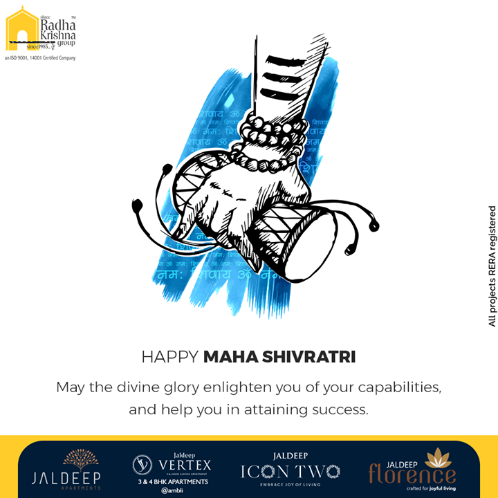 May the divine glory enlighten you of your capabilities, and help you in attaining success.  #MahaShivratri #HappyMahaShivratri #HappyShivratri #HappyShivratri2021 #Shivratri #Mahadev #IndianFestival #ShreeRadhaKrishnaGroup #Ahmedabad #RealEstate #SRKG