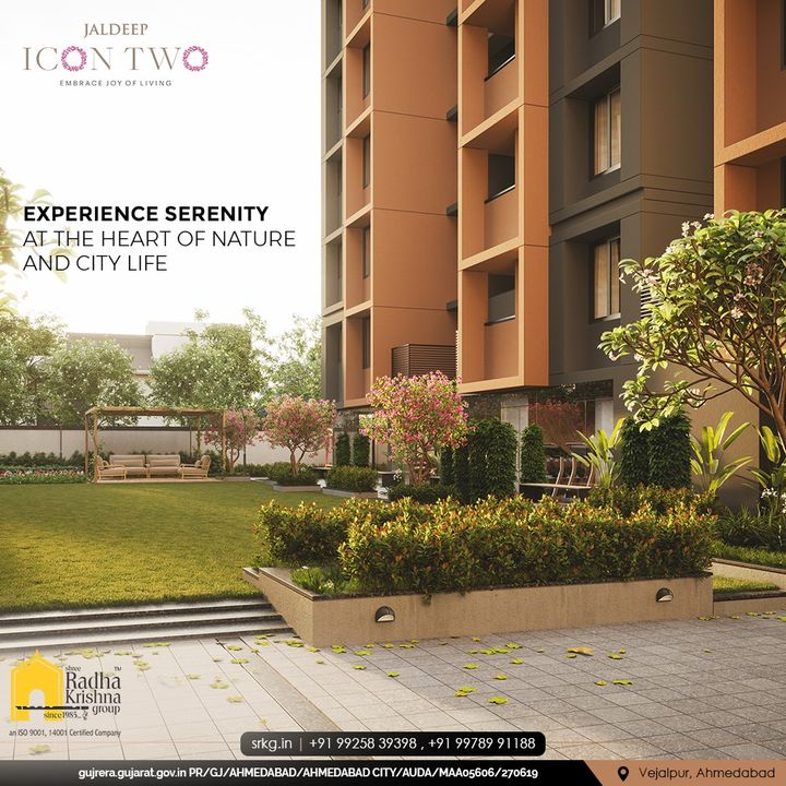 Peace should be a part and parcel of your life!  Live where you can experience serenity at the heart of nature and city life.  #JaldeepIconTwo #IconTwo #LuxuryLiving #ShreeRadhaKrishnaGroup #RadhaKrishnaGroup #SRKG #Vejalpur #Makarba #Ahmedabad #RealEstate