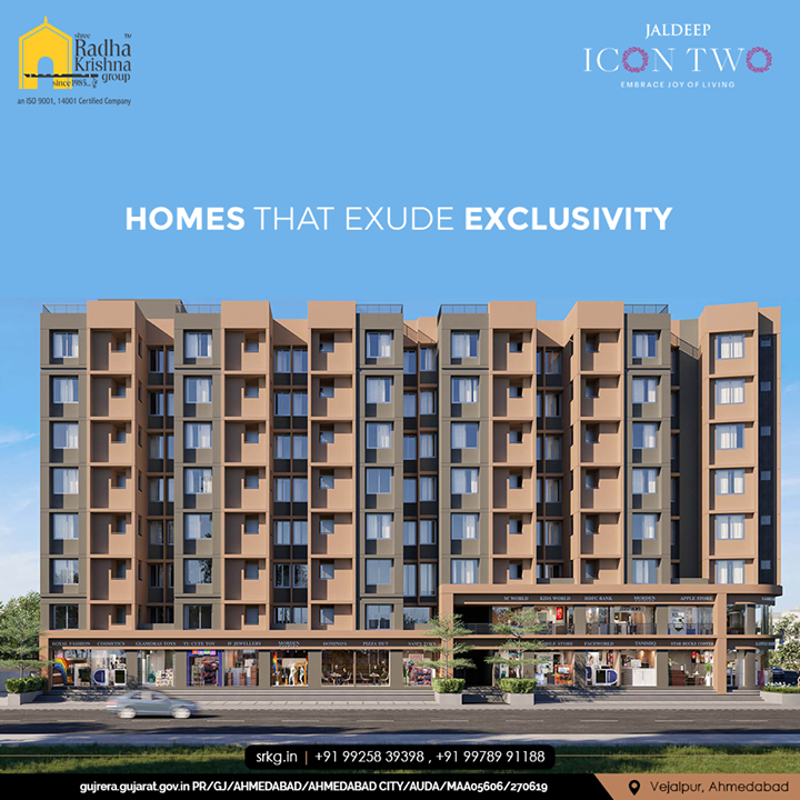 Homes that elevate your lifestyle with unparalleled facilities and keep you relaxed after a hard day's work.  #JaldeepIconTwo #IconTwo #LuxuryLiving #ShreeRadhaKrishnaGroup #RadhaKrishnaGroup #SRKG #Vejalpur #Makarba #Ahmedabad #RealEstate