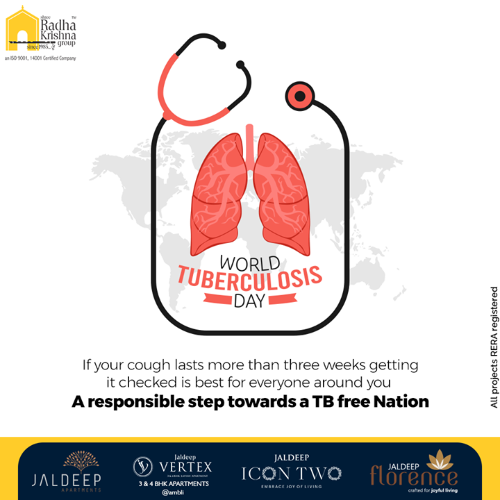 If your cough lasts more than three weeks getting it checked is best for everyone around you. A responsible step towards a TB free Nation  #WorldTuberculosisDay #WorldTuberculosisDay2021 #Tuberculosis #TB #EndTB #ShreeRadhaKrishnaGroup #Ahmedabad #RealEstate #SRKG