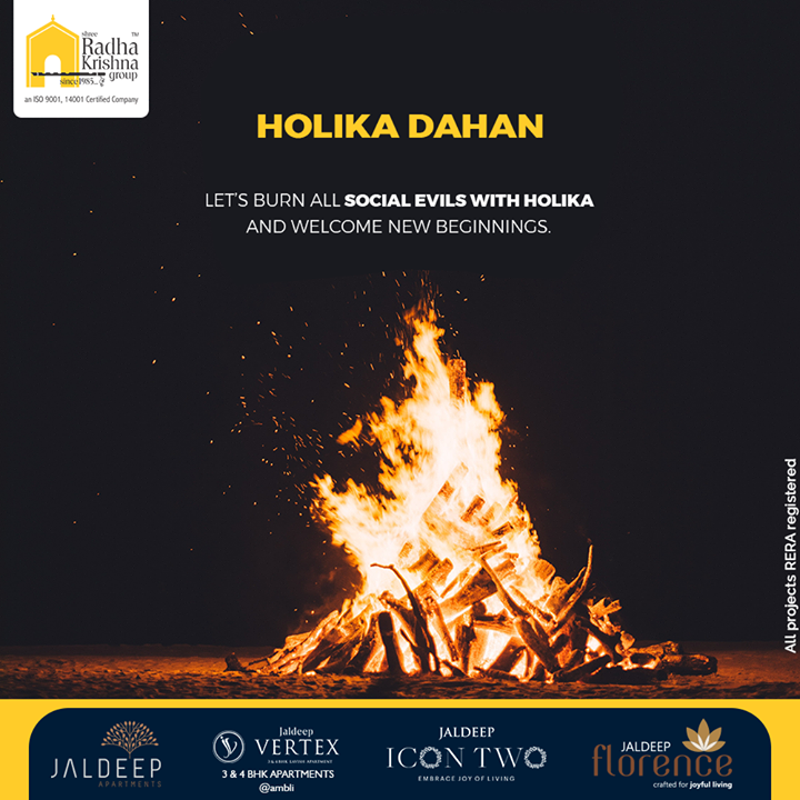 Let's burn all social evils with holika and welcome new beginnings.  #HolikaDahan #Holi #HappyHoli #Festival #IndianFestival #ShreeRadhaKrishnaGroup #Ahmedabad #RealEstate #SRKG