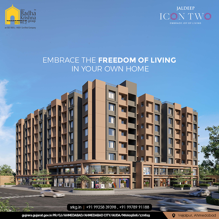 A home is the best investment for your prosperous future.  Embrace the freedom of living in your own home, Only at Jaldeep Icon Two.  #JaldeepIconTwo #IconTwo #LuxuryLiving #ShreeRadhaKrishnaGroup #RadhaKrishnaGroup #SRKG #Vejalpur #Makarba #Ahmedabad #RealEstate