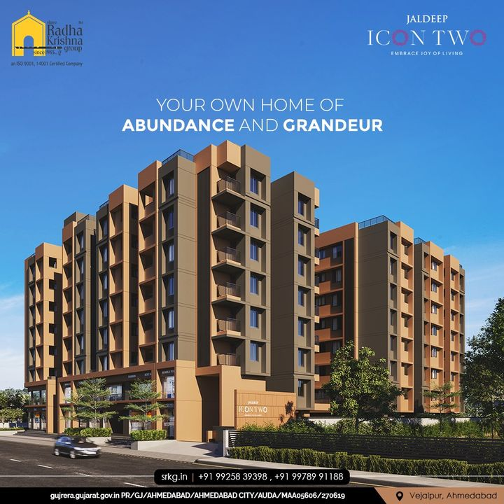 Your own home of Abundance and Grandeur loaded with lavish amenities so that you never fall short of anything and dwell with immense contentment.  #JaldeepIconTwo #IconTwo #LuxuryLiving #ShreeRadhaKrishnaGroup #RadhaKrishnaGroup #SRKG #Vejalpur #Makarba #Ahmedabad #RealEstate