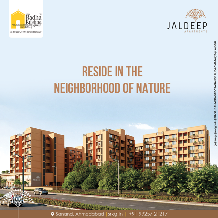 Reside in the neighborhood of nature and embrace the serenity at a home that has much more to offer.  Jaldeep Apartment.  #JaldeepApartments #LuxuryLiving #ShreeRadhaKrishnaGroup #Ahmedabad #RealEstate #SRKG